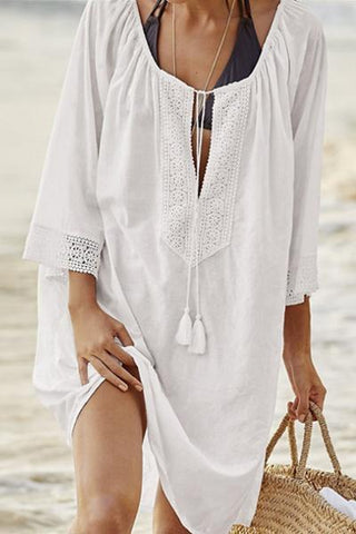 wiccous.com Tops White / One Size Openwork Stitching Beach Cover
