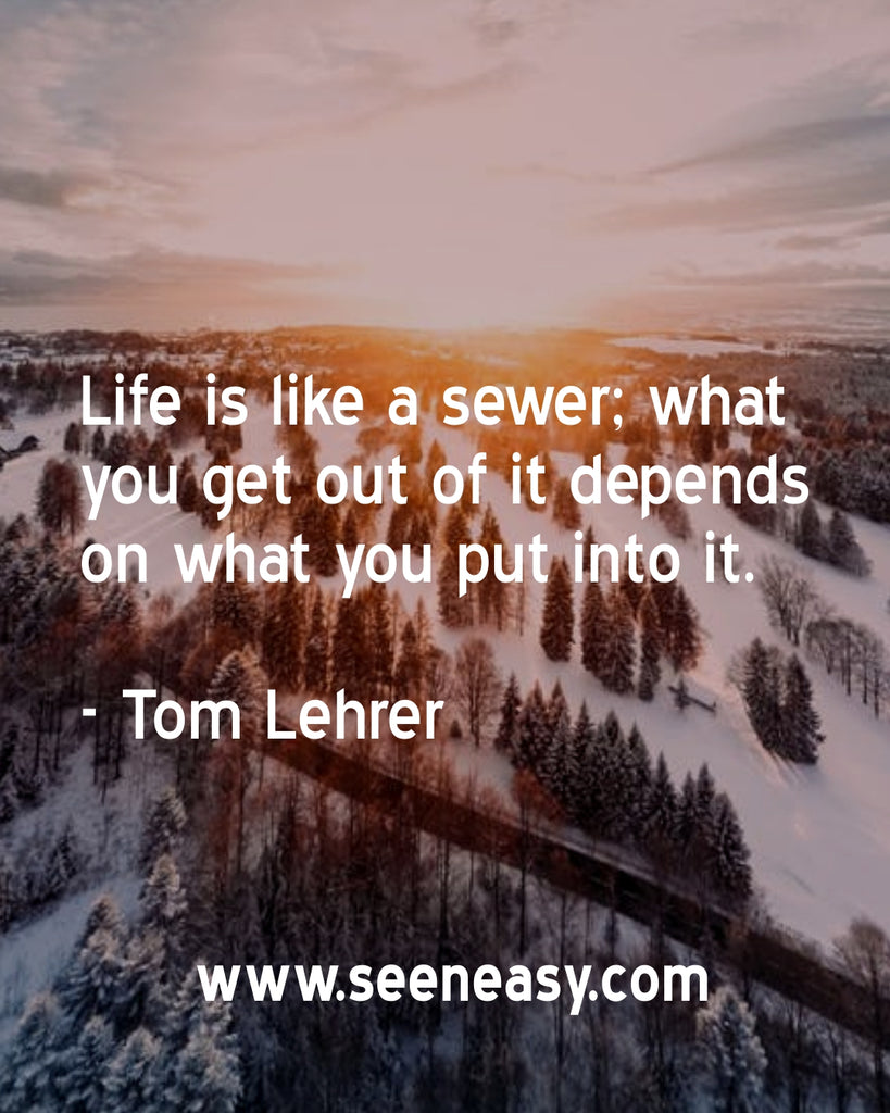 Life is like a sewer; what you get out of it depends on what you put into it.