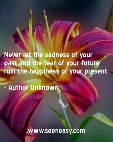 Never let the sadness of your past and the fear of your future ruin the happiness of your present. Author Unknown