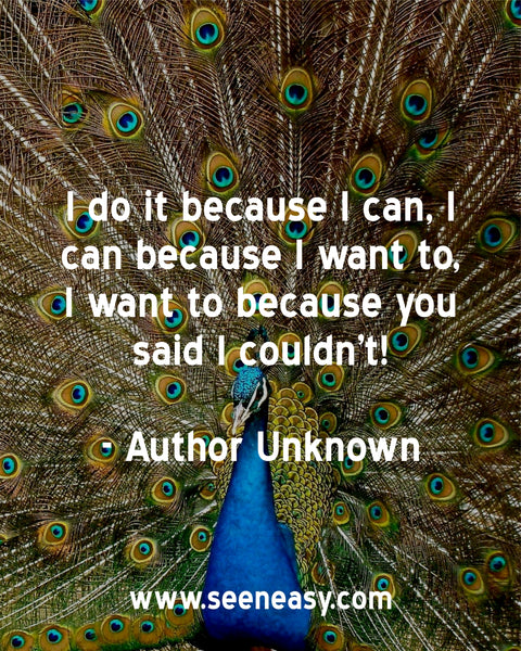 I do it because I can, I can because I want to, I want to because you said I couldn't! Author Unknown