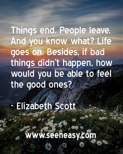 Things end. People leave. And you know what? Life goes on. Besides, if bad things didn't happen, how would you be able to feel the good ones? Elizabeth Scott
