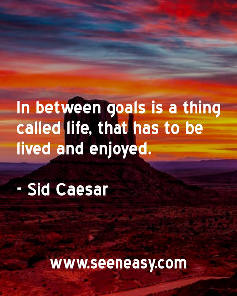 In between goals is a thing called life, that has to be lived and enjoyed. Sid Caesar