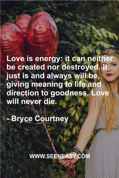 Love is energy: it can neither be created nor destroyed. It just is and always will be, giving meaning to life and direction to goodness. Love will never die. Bryce Courtney