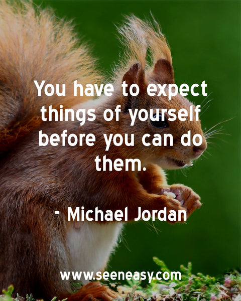 You have to expect things of yourself before you can do them. Michael Jordan