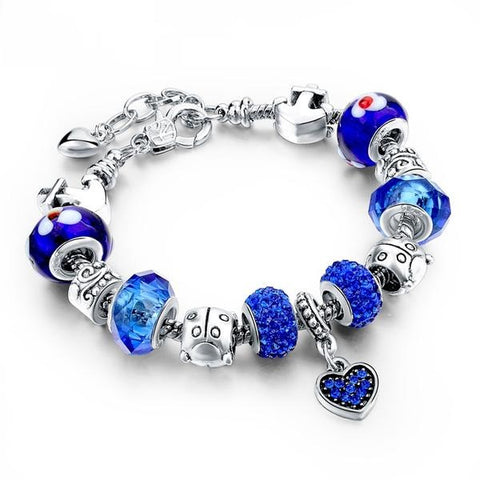 Image of Blue Heart Crystal Charm Bracelet