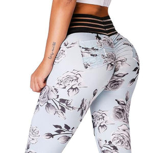 Flower Print High Waist Push Up Seamless Leggings