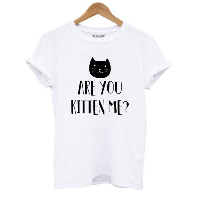 100% Cotton Cat Print Women T-Shirt Short Sleeve