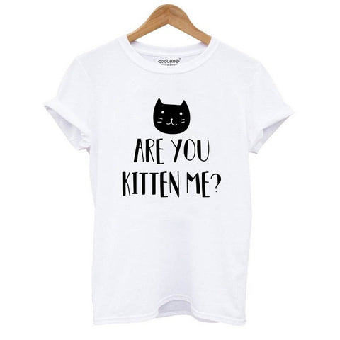 Image of 100% Cotton Cat Print Women T-Shirt Short Sleeve