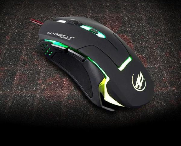 Wired Gaming Optical Positioning 2400 DPI 6 Button LED Glowing Mouse
