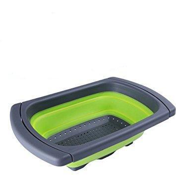 Image of Kitchen Collapsible Silicone Colander Strainer Expands to 24 Over the Sink Basket Cooking Water Drainage