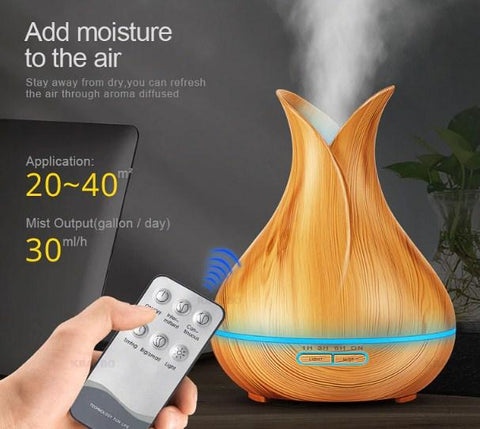 Image of Ultrasonic Led Aroma Oil Diffuser with Remote Control