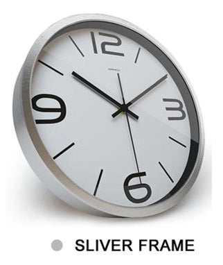 Image of Green Leaf High Definition Print Silver Frame Quartz Wall Clock