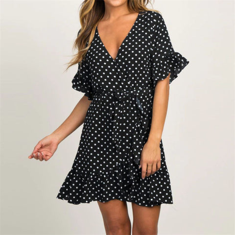 Polka Dot Short Sleeve V-neck Women Dress