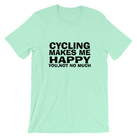 Image of Cycling Makes Me Happy Short-Sleeve Unisex T-Shirt