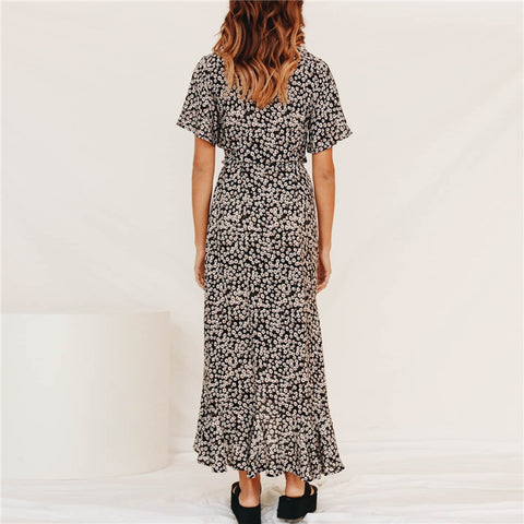 Floral Deep V-neck Split Long Women Dress