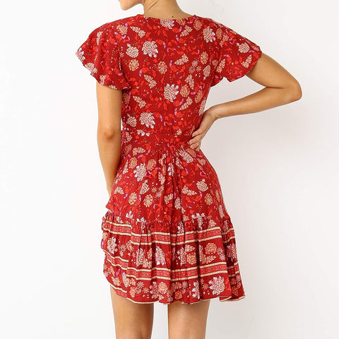 Floral Print Deep V Neck Ruffle Women Dress