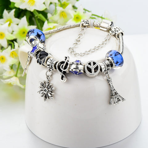 Blue Purple Mixed Crystal Charm Bracelet