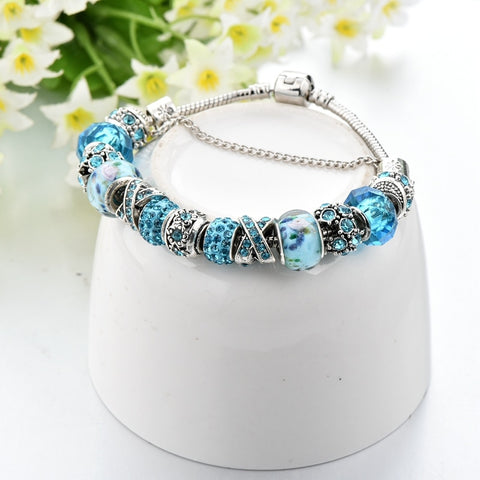 Image of Silver Blue Crystal Bead Charm Bracelet