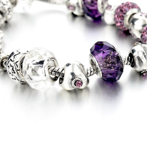 Purple Crystal Silver Heart Charm Bracelet
