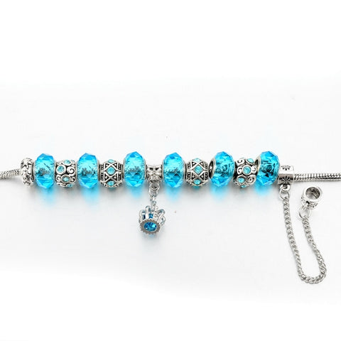 Crystal Silver Crown Charm Bracelet