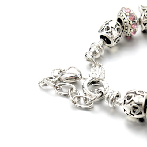 Image of Pink Crystal Ball Charm Bracelet