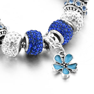 Blue Flower Crystal Charm Bracelet