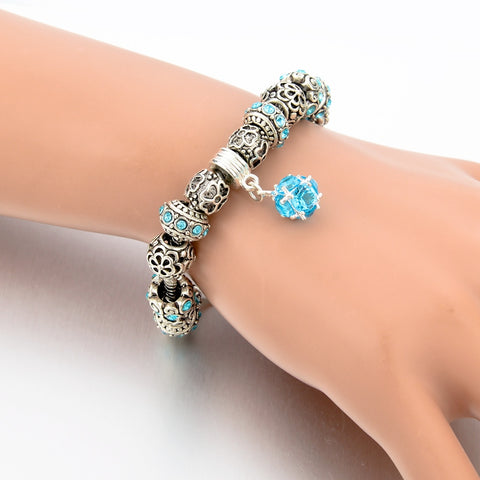 Image of Baby Blue Ball Crystal Charm Bracelet