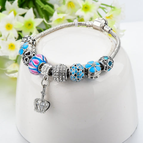 Image of White Crown Crystal Charm Bracelet