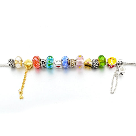 Super Mixed Crystal Charm Bracelet
