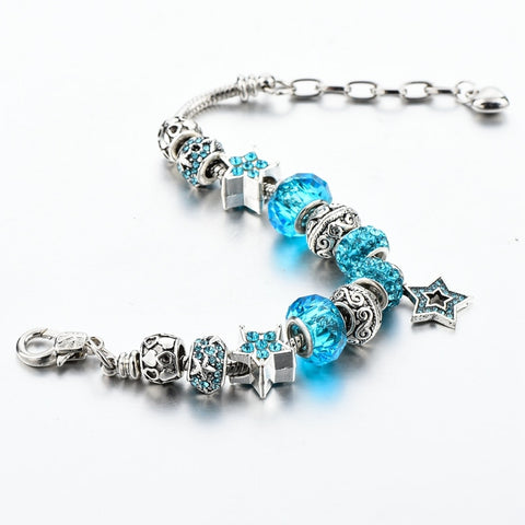 Image of Crystal Bead Star Charm Bracelet