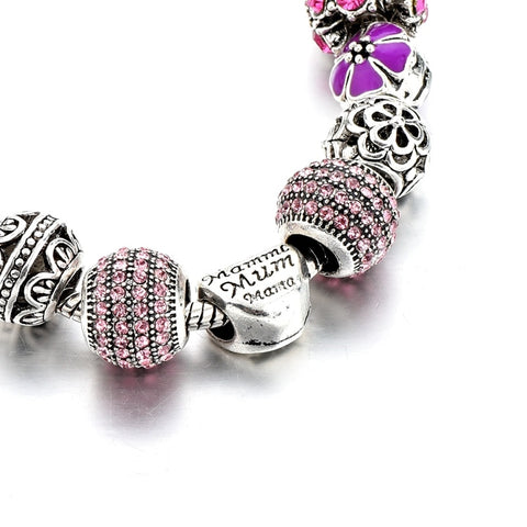Pink Crystal Silver Heart Charm Bracelet
