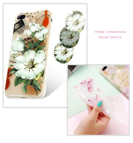 Image of Flower Patterned Soft Huawei Phone Case