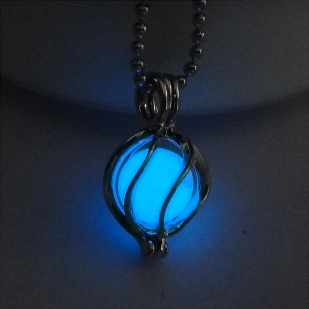 Blue Glow in the Dark Running Abstract Ball Pendant Necklace