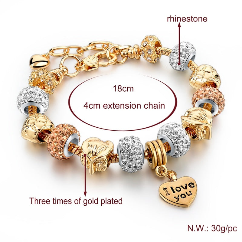 Gold I Love You Crystal Charm Bracelet