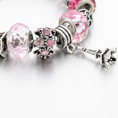Pink Crystal Twin Tower Charm Bracelet