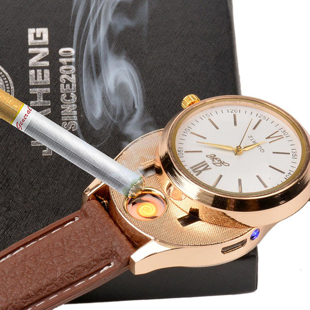 White Gold Rechargeable USB Windproof Flame-less Cigarette Lighter Metal Watch