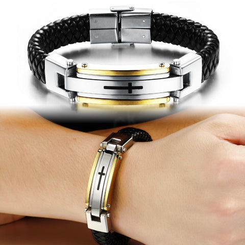 Image of Stainnless Steel Vintage Leather Cross Bracelet - Limited Edition
