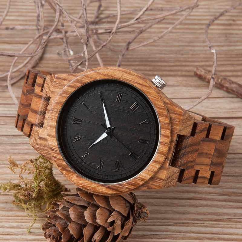 Handmade Natural Bamboo Zebra Wood Watch Glowing Hands Adjustable Band
