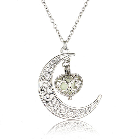Image of Green Glow In The Dark Half Moon and Heart Pendant Necklace