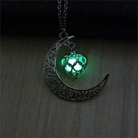Green Glow In The Dark Half Moon and Heart Pendant Necklace