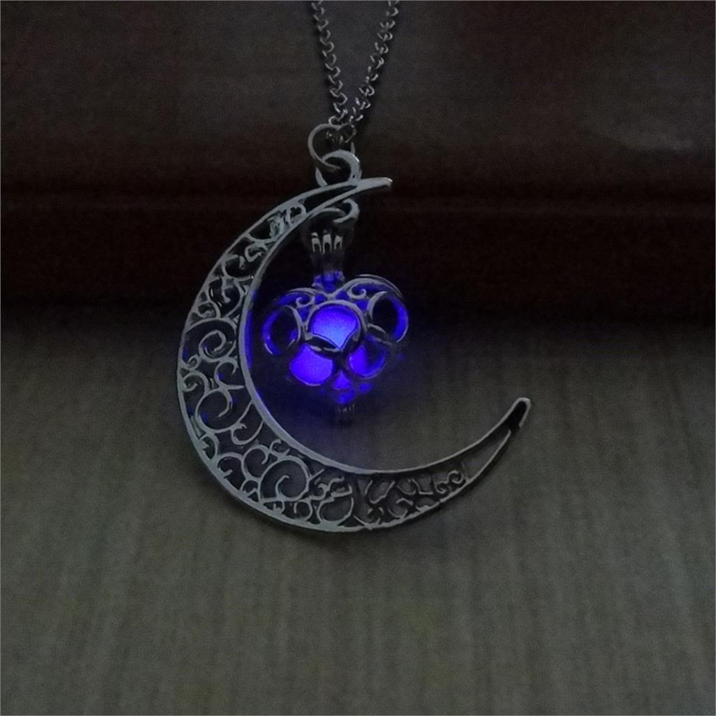 Purple Glow In The Dark Half Moon and Heart Pendant Necklace
