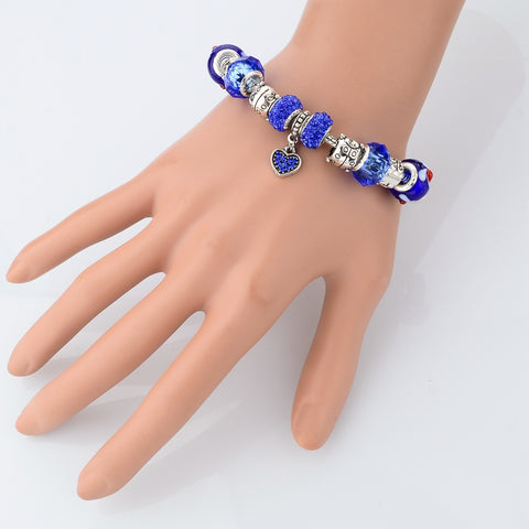 Blue Crystal Heart Charm Bracelet