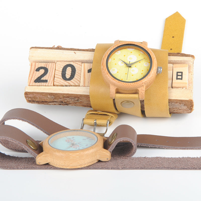 Handmade Natural Bamboo Wooden Watch Flower Brown Long Genuine Leather Band