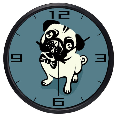 Image of Cartoon Cute Pug High Definition Print Black Frame Quartz Wall Clock
