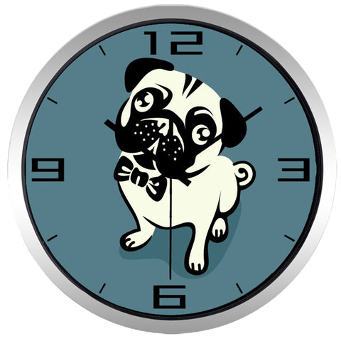 Image of Cartoon Cute Pug High Definition Print Silver Frame Quartz Wall Clock