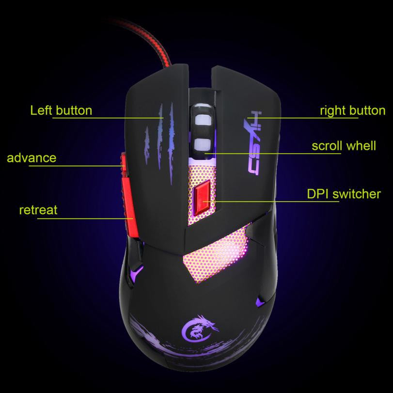 Wired Optical Positioning Gaming 3200 DPI 6 Button Glowing Mouse