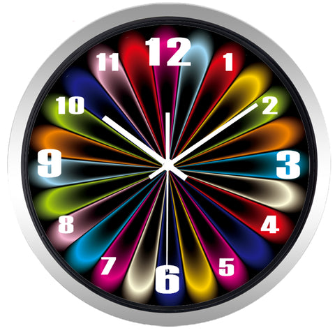 Image of Creative Abstract Neon Light High Definition Print Silver Frame Quartz Wall Clock