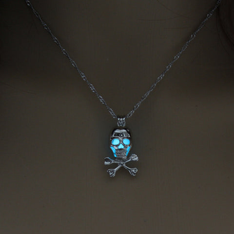 Image of Blue Green Glow in the Dark Skull Pendant Necklace