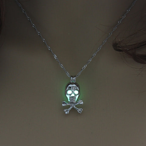 Image of Yellow Green Glow in the Dark Skull Pendant Necklace