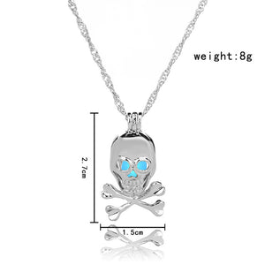 Blue Green Glow in the Dark Skull Pendant Necklace